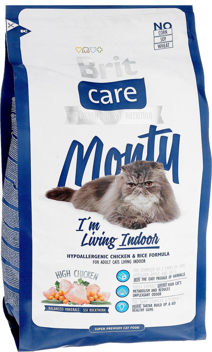 Корм сухой Brit Care Monty Indoor для взрослых кошек живущих в помещении, с курицей и рисом, 2 кг8595602505708Гипоаллергенный сухой корм Brit Care Monty Indoor - это полностью сбалансированное питание, изготовленное из высококачественных ингредиентов, и содержащее все необходимые нутриенты для поддержания здоровья, красоты и жизненного тонуса вашего питомца. Корм поможет обеспечить вашу кошку всеми питательными веществами, витаминами и минералами, обладая при этом отличным вкусом. Идеален в качестве диеты для кошек, постоянно живущих в помещении. Преимущества: - Высокое содержание мяса; - Сбалансированный минеральный состав; - Содержит 3 вида волокон: подорожник, свекла, яблоко - для быстрого и безопасного вывода комочков шерсти из желудка; - Экстракт Юкки Шидигера для контроля запахов экскрементов; - Витамин C и гексаметафосфат натрия предотвращают образование зубного камня. Товар сертифицирован.