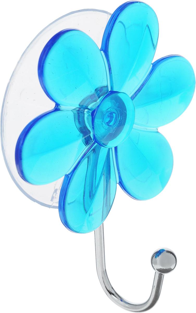 Крючок Top Star Цветок, на вакуумной присоске, цвет: синий, стальной, 6 х 3 х 10 см175332_синийКрючок Top Star Цветок изготовлен из хромированной стали и украшен пластиковой вставкой в виде цветка. Крючок крепится к поверхности при помощи присоски. Для надежности крепления присоску необходимо устанавливать на гладкой, воздухонепроницаемой, очищенной и обезжиренной поверхности. Такой крючок прекрасно впишется в интерьер ванной комнаты и поможет эффективно организовать пространство.