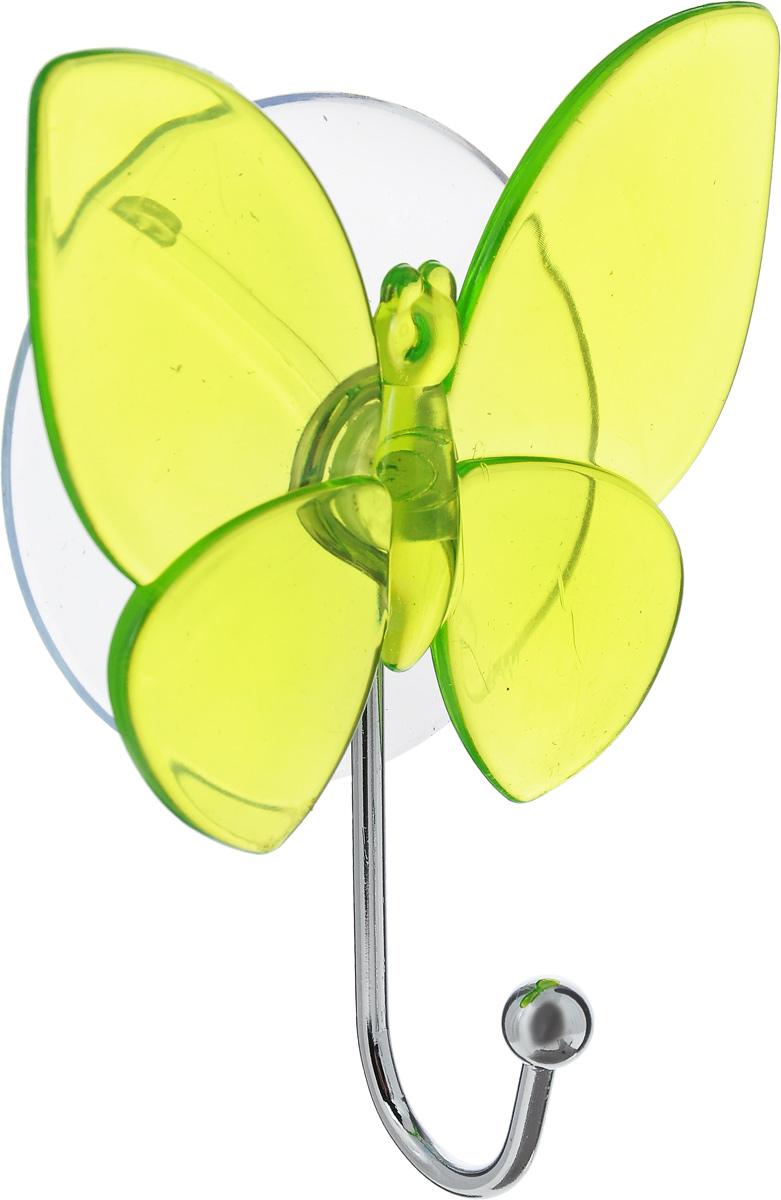 Крючок Top Star Бабочка, на присоске, цвет: зеленый, стальной, 11 х 8 х 3 см175332_бабочка, салатовыйКрючок Top Star Бабочка изготовлен из хромированной стали и украшен пластиковой вставкой в виде бабочки. Крючок крепится к поверхности при помощи присоски. Для надежности крепления присоску необходимо устанавливать на гладкой, воздухонепроницаемой, очищенной и обезжиренной поверхности. Такой крючок прекрасно впишется в интерьер ванной комнаты и поможет эффективно организовать пространство.