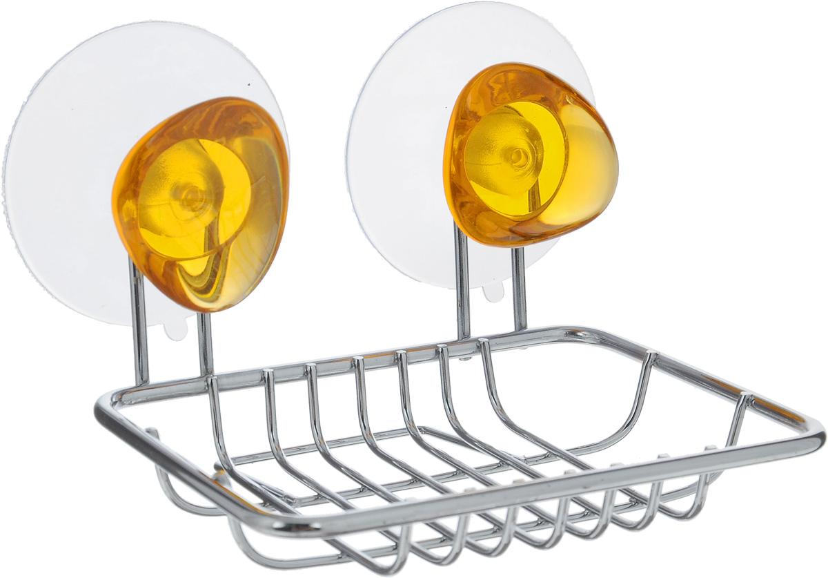 Мыльница подвесная Axentia Amica, на присосках, цвет: стальной, янтарный, 12 х 10 см282031_оранжевыйМыльница Axentia Amica изготовлена из хромированной стали. Изделие крепится к стене при помощи двух присосок. Такая мыльница прекрасно подойдет для ванной комнаты или кухни.