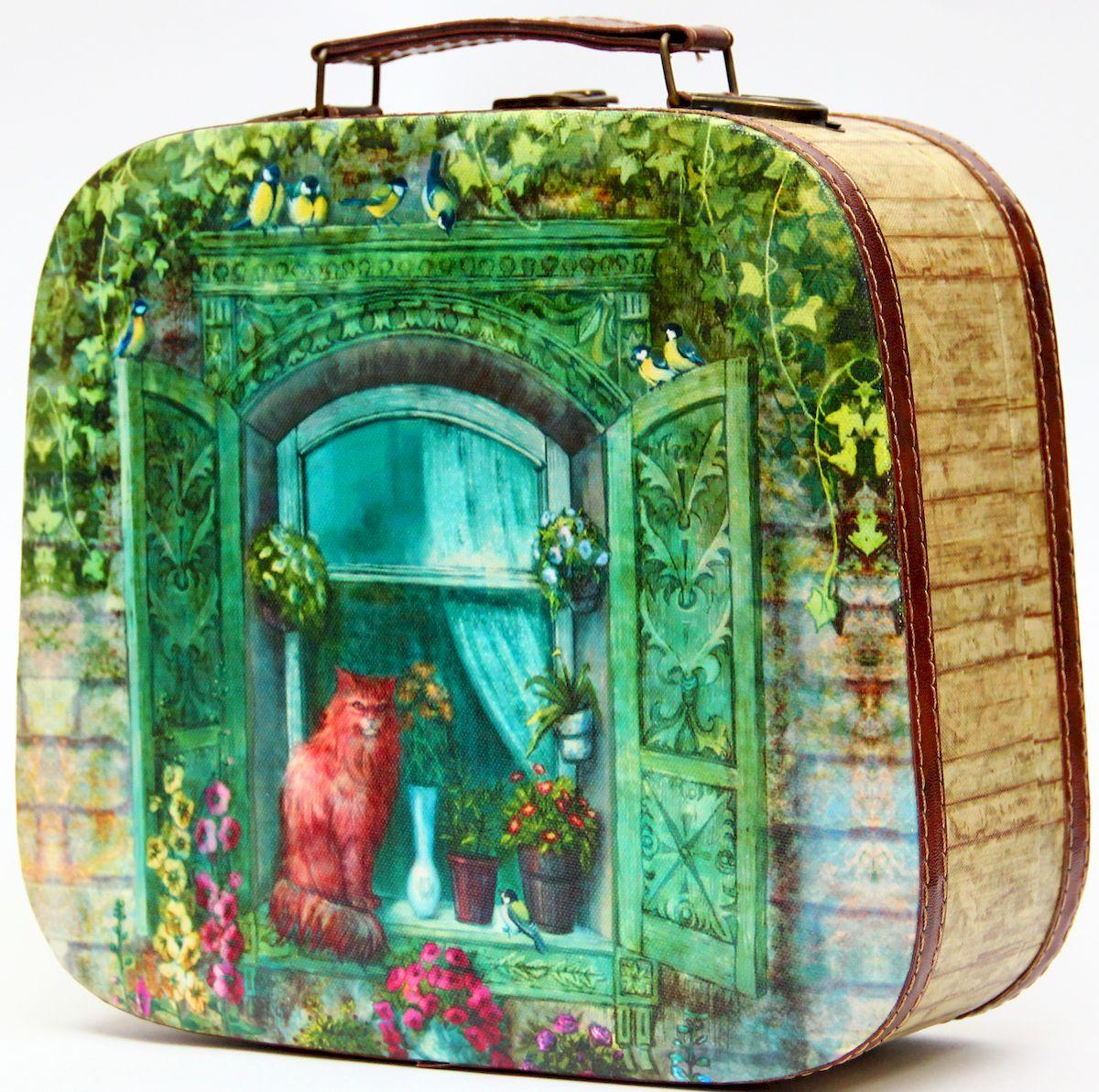 Шкатулка декоративная Magic Home Котик на окне, цвет: зеленый42732Шкатулка декоративная КОТИК НА ОКНЕ арт.42732 из МДФ древесина павловнии / 28,5х25х10,5