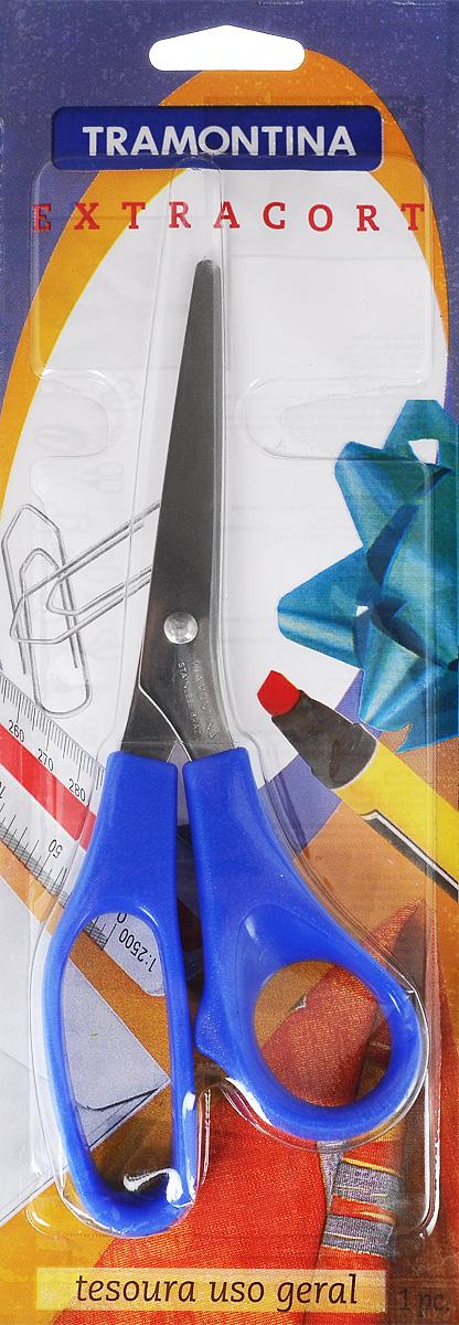 Ножницы швейные Tramontina Extracort, цвет: синий, серебристый, длина 19,5 см25950/147-TR_синий, серебристыйНожницы Tramontina Extracort, выполненные из высококачественной нержавеющей стали, имеют закругленные концы и предназначены для рукоделия. Они очень аккуратно режут нитки и ткань. Эргономично разработанные ручки из пластика очень удобны для захвата. Данное изделие займет достойное место среди аксессуаров в вашем доме. Общая длина ножниц: 19,5 см. Длина лезвий: 9 см.