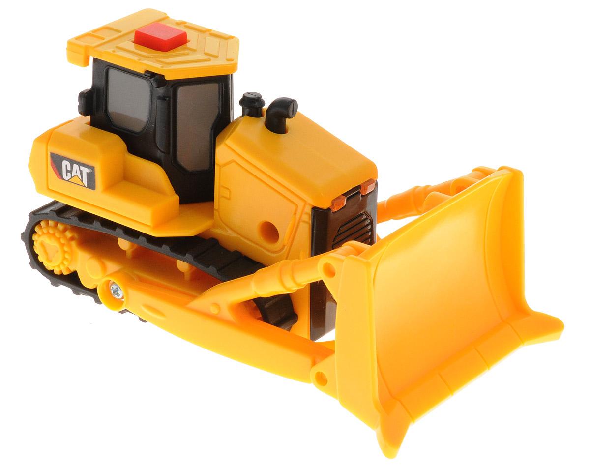 Toystate Гусеничный трактор Cat34696TS_тракторГусеничный трактор Toystate Cat обязательно привлечет внимание вашего ребенка и не позволит ему скучать. Трактор выполнен из прочного пластика ярко-желтого цвета с элементами черного цвета. Трактор оснащен подвижным щитом. На крыше трактора расположена красная кнопочка. При нажатии на неё, воспроизводится звук работающего мотора, и зажигаются фары. Малыш проведет с этой игрушкой много увлекательных часов, дополняя игры в стройку. Ваш ребенок будет в восторге от такого подарка! Рекомендуется докупить 2 батарейки напряжением 1,5V типа LR44 (товар комплектуется демонстрационными).