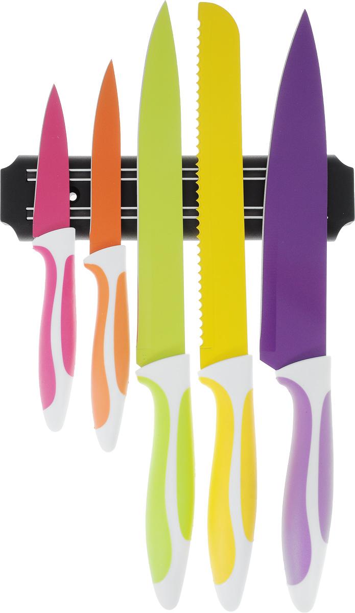 Набор ножей Pomi d'Oro Luminoso, с магнитным держателем, 6 предметов77.858@23635 / SET41 LuminosoНабор Pomi dOro Luminoso состоит из пяти ножей: универсальный, поварской, разделочный, для овощей и для хлеба. Лезвия изделий выполнены из высококачественной нержавеющей стали. Изделия оснащены рукоятками из пластика с прорезиненным покрытием, которые не скользят в руках и делают резку удобной и безопасной. В комплект входит магнитный держатель с креплениями. Длина лезвия универсального ножа: 11 см. Общая длина универсального ножа: 22 см. Длина лезвия поварского ножа: 20 см. Общая длина поварского ножа: 33 см. Длина лезвия ножа для овощей: 8,5 см. Общая длина ножа для овощей: 19,5 см. Длина лезвия ножа для хлеба: 20 см. Общая длина ножа для хлеба: 33,5 см. Длина лезвия разделочного ножа: 20,5 см. Общая длина разделочного ножа: 34 см. Размер держателя: 20,2 х 1,5 х 5 см.