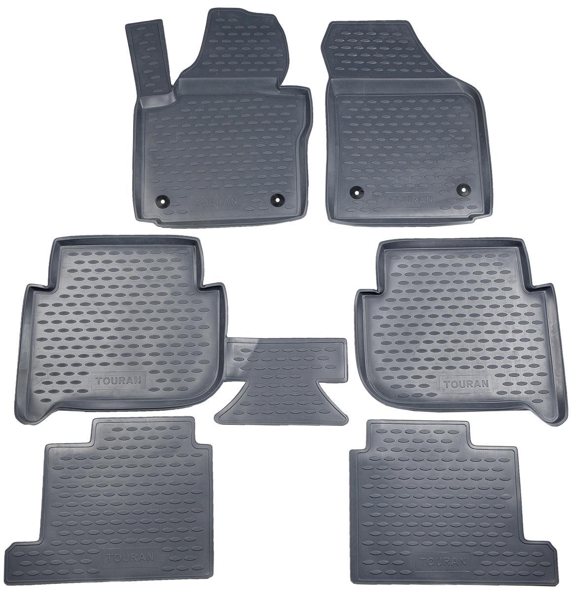 Коврики в салон автомобиля Novline-Autofamily, для Volkswagen Touran 11/2006->, 7 мест, 6 штNLC.51.20.211kКоврики в салон Novline-Autofamily не только улучшат внешний вид салона вашего автомобиля, но и надежно уберегут его от пыли, грязи и сырости, а значит, защитят кузов от коррозии. Полиуретановые коврики для автомобиля гладкие, приятные и не пропускают влагу. Автомобильные коврики в салон учитывают все особенности каждой модели и полностью повторяют контуры пола. Благодаря этому их не нужно будет подгибать или обрезать. И самое главное - они не будут мешать педалям. Полиуретановые автомобильные коврики для салона произведены из высококачественного материала, который держит форму и не пачкает обувь. К тому же, этот материал очень прочный (его, к примеру, не получится проткнуть каблуком). Некоторые автоковрики становятся источником неприятного запаха в автомобиле. С полиуретановыми ковриками Novline-Autofamily вы можете этого не бояться. Коврики для автомобилей надежно крепятся на полу и не скользят, что очень важно во время движения, особенно для водителя. ...