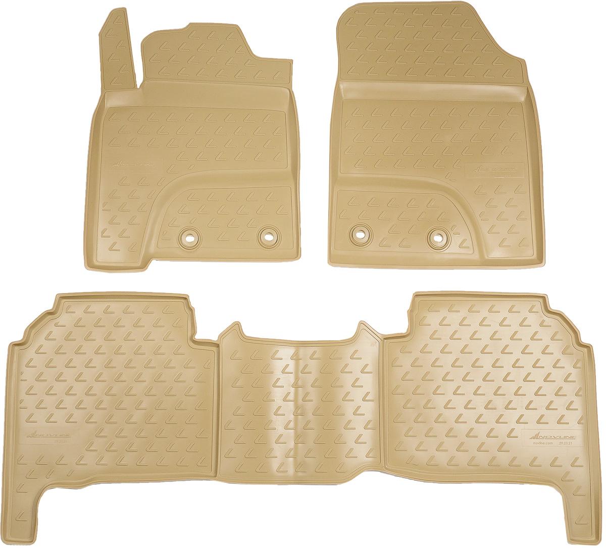 Коврики в салон автомобиля Novline-Autofamily, для Lexus LX570 2012->, 5 мест, 3 штNLC.29.20.212kКоврики в салон Novline-Autofamily не только улучшат внешний вид салона вашего автомобиля, но и надежно уберегут его от пыли, грязи и сырости, а значит, защитят кузов от коррозии. Полиуретановые коврики для автомобиля гладкие, приятные и не пропускают влагу. Автомобильные коврики в салон учитывают все особенности каждой модели и полностью повторяют контуры пола. Благодаря этому их не нужно будет подгибать или обрезать. И самое главное - они не будут мешать педалям. Полиуретановые автомобильные коврики для салона произведены из высококачественного материала, который держит форму и не пачкает обувь. К тому же, этот материал очень прочный (его, к примеру, не получится проткнуть каблуком). Некоторые автоковрики становятся источником неприятного запаха в автомобиле. С полиуретановыми ковриками Novline-Autofamily вы можете этого не бояться. Коврики для автомобилей надежно крепятся на полу и не скользят, что очень важно во время движения, особенно для водителя. ...