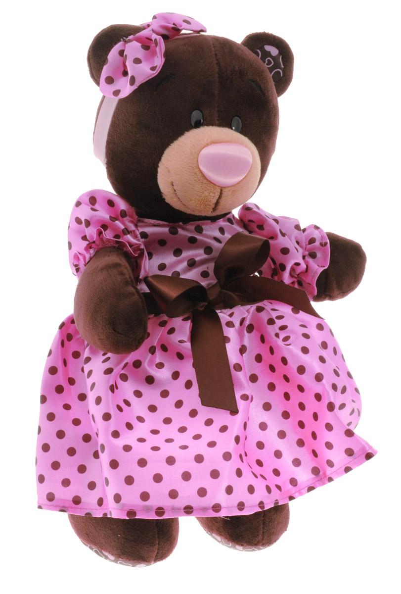 ChocoMilk Мягкая игрушка Медведица Milk в летнем платье 30 смМ011/30Мягкая игрушка Медведица Milk в летнем платье вызовет умиление и улыбку у каждого, кто ее увидит. Игрушка выполнена в виде милой медведицы коричневого цвета в розовом пышном платье. На голове у игрушки ободок с кокетливым розовым бантиком. Игрушка изготовлена из мягкого, приятного на ощупь искусственного меха и текстиля с наполнителем из гипоаллергенного полиэфирного волокна и полиэтиленовых гранул. Удивительно мягкая игрушка принесет радость и подарит своему обладателю мгновения нежных объятий и приятных воспоминаний. Великолепное качество исполнения делают эту игрушку чудесным подарком к любому празднику.