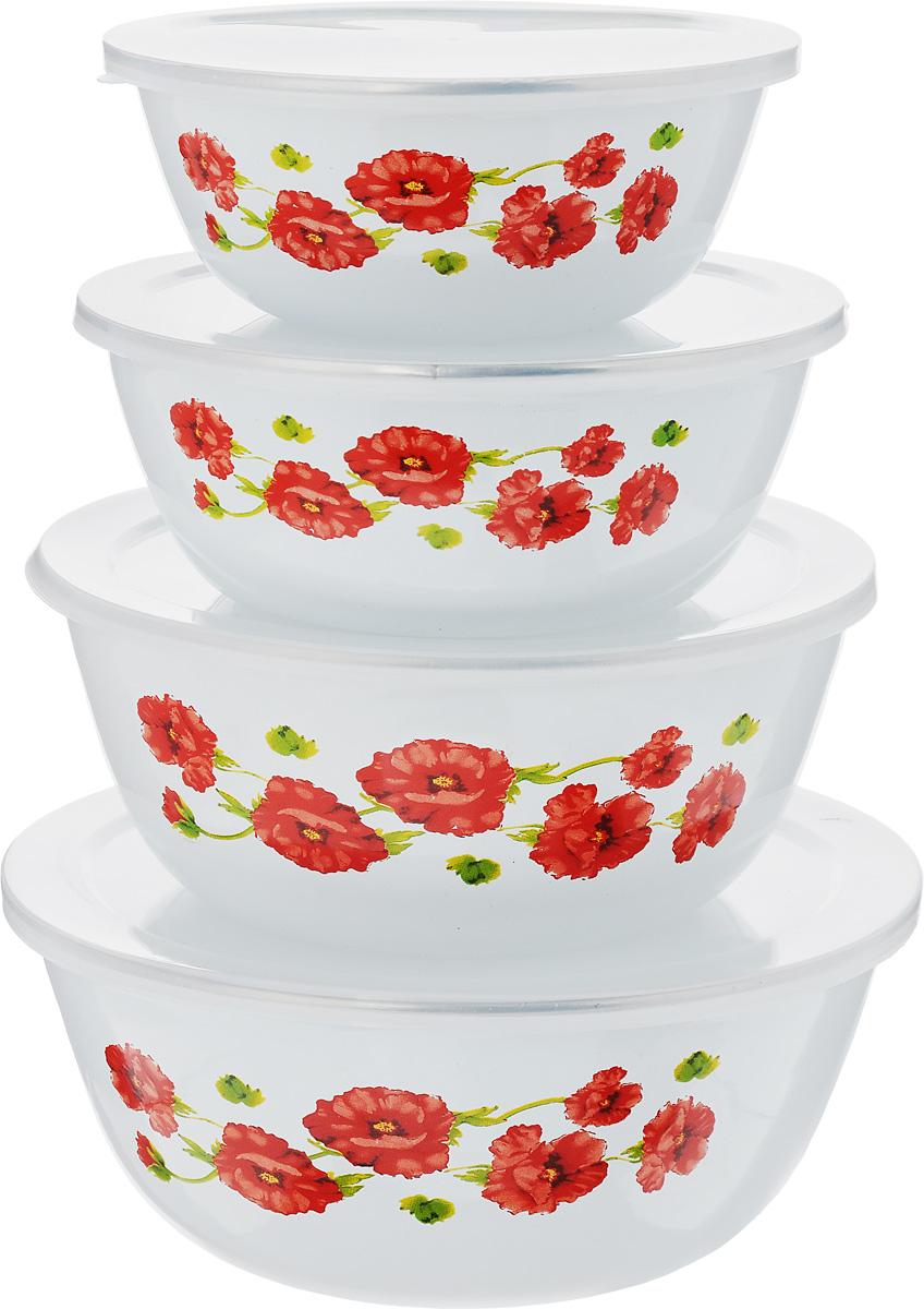 Набор мисок Mayer & Boch Маки, 8 предметов4938_макиНабор Mayer & Boch Маки состоит из четырех мисок разного размера, выполненных из металла с эмалированным покрытием. Миски снабжены пластиковыми плотно прилегающими крышками. Они являются универсальным приобретением для любой кухни. С их помощью можно готовить блюда, хранить продукты и даже сервировать стол. Оригинальный дизайн, высокое качество и функциональность набора Mayer & Boch Маки позволят ему стать достойным дополнением к вашему кухонному инвентарю. Можно мыть в посудомоечной машине. Диаметр мисок (по верхнему краю): 20,5 см, 18 см, 16 см, 14 см. Высота стенок мисок (без учета крышек): 8,5 см, 8 см, 6,5 см, 6 см.