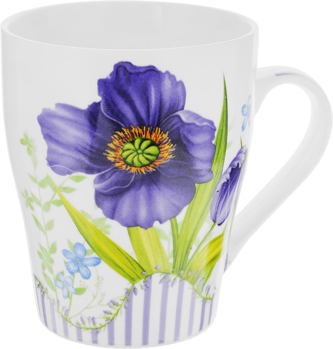 Кружка Loraine Цветок, цвет: белый, фиолетовый, зеленый, 340 мл24466_фиолетовыйКружка Loraine Цветок изготовлена из высококачественного фарфора. Изделие оформлено изображением цветов. Такая кружка станет приятным сувениром и обязательно порадует вас и ваших близких. Объем: 340 мл. Диаметр кружки (по верхнему краю): 8 см. Высота кружки: 10 см.