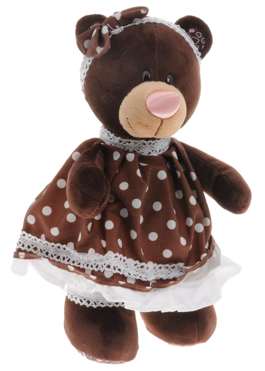 ChocoMilk Мягкая игрушка Медведица Milk в платье в горох 30 смМ5052/30Мягкая игрушка Медведица Milk вызовет умиление и улыбку у каждого, кто ее увидит. Игрушка выполнена в виде милой медведицы коричневого цвета в коричневом пышном платье с белыми оборками и белых панталончиках. На голове у игрушки ободок с кокетливым коричневым бантиком. Игрушка изготовлена из мягкого, приятного на ощупь искусственного меха и текстиля с наполнителем из гипоаллергенного полиэфирного волокна и полиэтиленовых гранул. Удивительно мягкая игрушка принесет радость и подарит своему обладателю мгновения нежных объятий и приятных воспоминаний. Великолепное качество исполнения делают эту игрушку чудесным подарком к любому празднику.