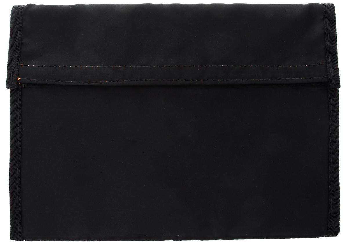 Папка для портфолио животных Elite Valley, раскладная, цвет: черный, оранжевыйП-1_черный, оранжевыйПапка Elite Valley идеально подойдет для портфолио вашей собаки или кошки. Папка выполнена из плотного картона и обтянута прочным непромокаемым текстилем. Внутренняя поверхность папки цветная, внутри содержится два прозрачных ПВХ-кармана для фотографий формата А4 и 3 маленьких кармашка. Закрывается папка на липучку. Также изделие раскладывается для демонстрации вложений, фиксируясь в нижней части на липучку. Такая папка пригодится для выставок, различных проб на съемки и других мероприятий.