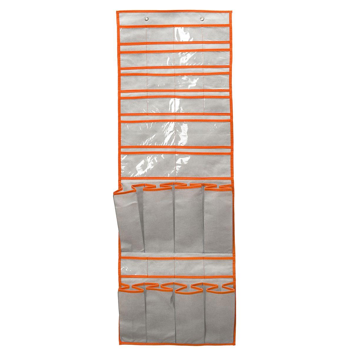Подвесной органайзер для обуви и мелочей Homsu Space Grey, 39x10x122 смHOM-178Подвесной органайзер с 20-ю маленькими раздельными кармашками 8,5см на 6,5см, 4-мя большими раздельными кармашками 18см на 9см и 8-ю кармашками под обувь 9см на 24см очень удобен для хранения вещей в вашем шкафу. Идеально для колготок, мелочей, обуви и других вещей ежедневного пользования. Фактический цвет может отличаться от заявленного. Крючки для подвешивания в комплекте не идут. Размер изделия: 39x10x122 см.