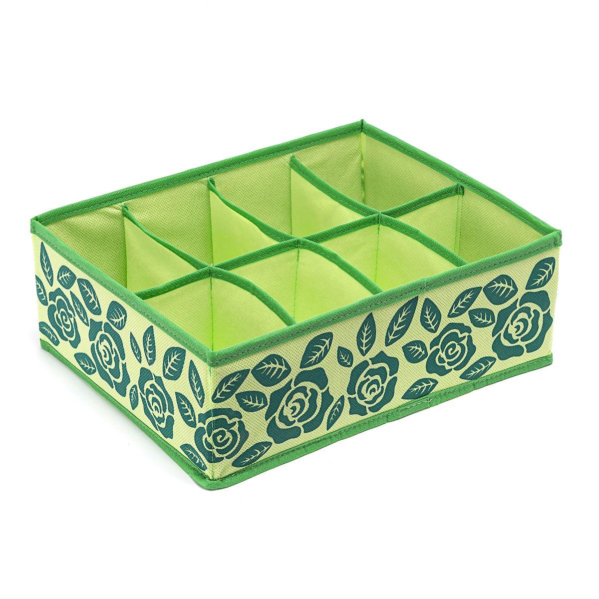 Органайзер для хранения Homsu Green Flower, 8 секций , 31 х 24 х 11 смHOM-380Компактный органайзер Homsu Green Flower изготовлен из высококачественного полиэстера, который обеспечивает естественную вентиляцию. Материал позволяет воздуху свободно проникать внутрь, но не пропускает пыль. Органайзер отлично держит форму, благодаря вставкам из плотного картона. Изделие имеет 8 секций для хранения нижнего белья, колготок, носков и другой одежды. Такой органайзер позволит вам хранить вещи компактно и удобно.
