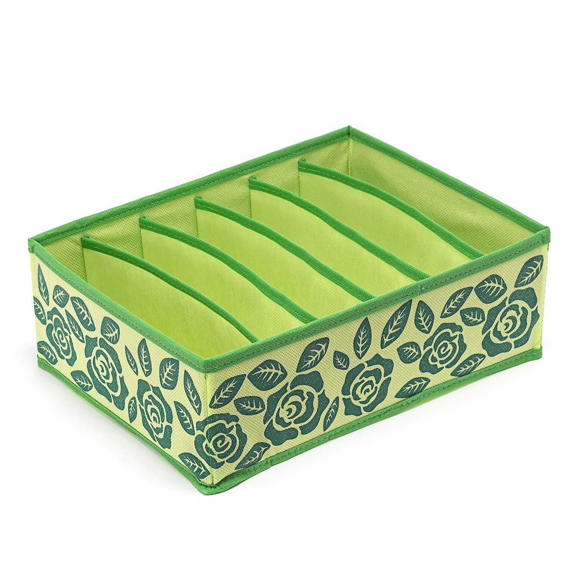 Органайзер для бюстгальтеров Homsu Green Flower, на 6 секций , 31х24х11 смHOM-381Прямоугольный и плоский органайзер с 6 раздельными ячейками 32см на 5см очень удобен для хранения вещей среднего размера в вашем ящике или на полке. Идеально для бюстгальтеров, нижнего белья и других вещей ежедневного пользования. Имеет жесткие борта, что является гарантией сохраности вещей. Фактический цвет может отличаться от заявленного. Размер изделия: 31x24x11см