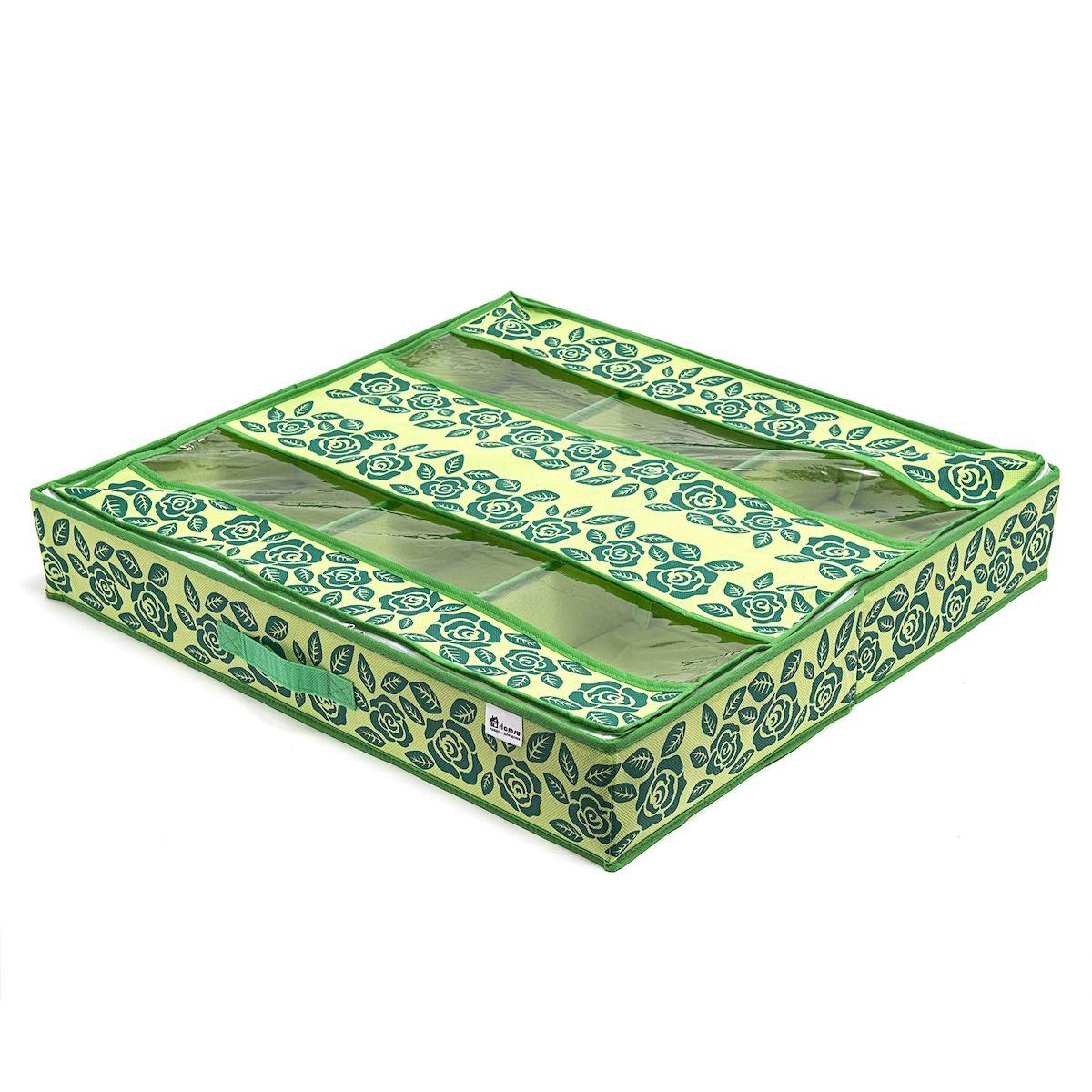 Органайзер для обуви Homsu Green Flower, 66х63х11 смHOM-382Очень удобный способ хранить сезонную обувь. Шесть больших отделений размером 20см на 32см вмещают 6 пар обуви большого размера, высокий каблук, сапожки. Органайзер плоский, удобно хранить под кроватью или диваном. Внутренние секции можно моделировать под размеры обуви, например высокие сапоги. Имеет жесткие борта, что является гарантией сохраности вещей. Фактический цвет может отличаться от заявленного. Размер изделия: 66x63x11см