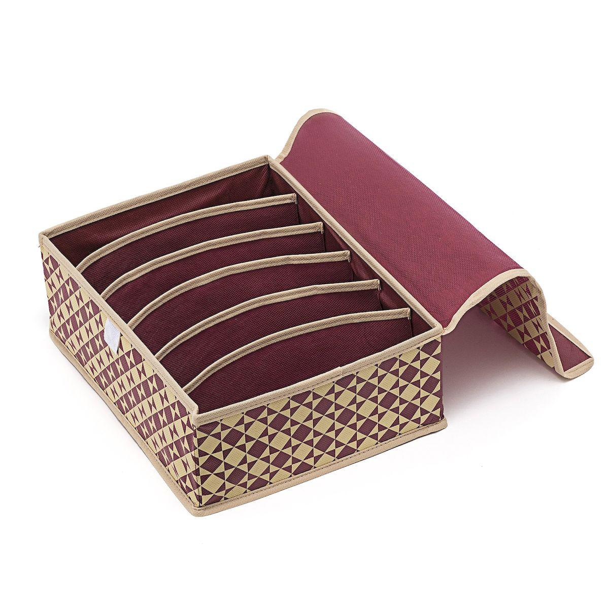 Органайзер для хранения Homsu Bordo, 6 секций, 31 х 24 х 11 смHOM-392Компактный складной органайзер Homsu Bordo изготовлен из высококачественного полиэстера, который обеспечивает естественную вентиляцию. Материал позволяет воздуху свободно проникать внутрь, но не пропускает пыль. Органайзер отлично держит форму, благодаря вставкам из плотного картона. Изделие имеет 6 секций для хранения нижнего белья, колготок, носков и другой одежды. Изделие закрывается крышкой на липучке. Такой органайзер позволит вам хранить вещи компактно и удобно.