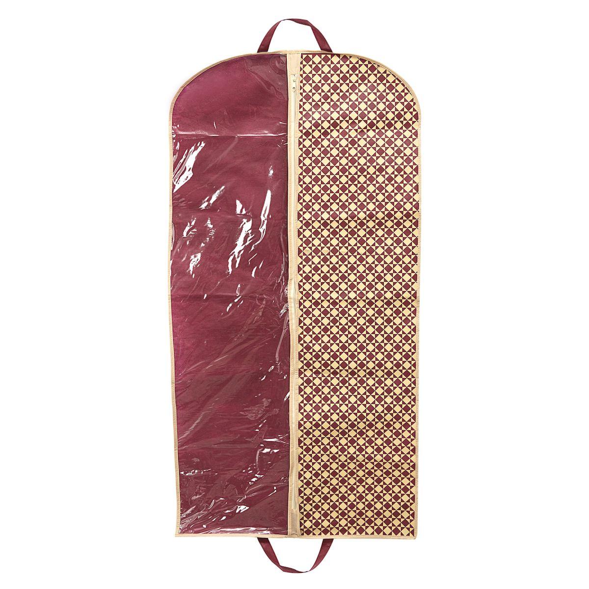 Чехол для одежды Homsu Bordo, подвесной, с прозрачной вставкой, 120 х 60 смHOM-393Подвесной чехол для одежды Homsu Bordo на застежке-молнии выполнен из высококачественного нетканого материала. Чехол снабжен прозрачной вставкой из ПВХ, что позволяет легко просматривать содержимое. Изделие подходит для длительного хранения вещей. Чехол обеспечит вашей одежде надежную защиту от влажности, повреждений и грязи при транспортировке, от запыления при хранении и проникновения моли. Чехол позволяет воздуху свободно поступать внутрь вещей, обеспечивая их кондиционирование. Это особенно важно при хранении кожаных и меховых изделий. Чехол для одежды Homsu Bordo создаст уютную атмосферу в гардеробе. Лаконичный дизайн придется по вкусу ценительницам эстетичного хранения и сделают вашу гардеробную изысканной и невероятно стильной. Размер чехла: 120 х 60 см.