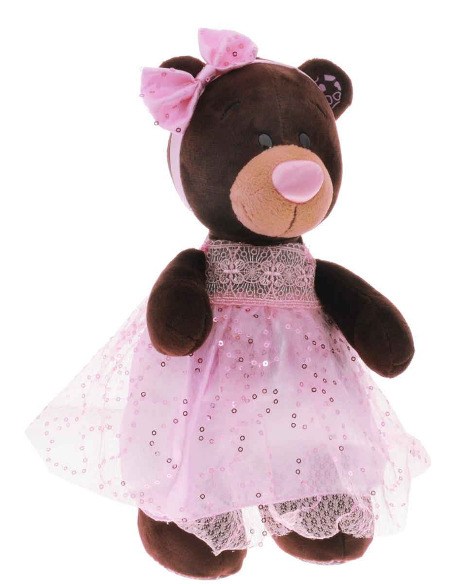 ChocoMilk Мягкая игрушка Медведица Milk в платье с блестками 30 смМ5048/30Мягкая игрушка Медведица Milk в платье с блестками вызовет умиление и улыбку у каждого, кто ее увидит. Игрушка выполнена в виде милой медведицы коричневого цвета в розовом пышном платье с блестящими пайетками и кружевными вставками. На голове у игрушки ободок с кокетливым розовым бантиком. Игрушка изготовлена из мягкого, приятного на ощупь искусственного меха и текстиля с наполнителем из гипоаллергенного полиэфирного волокна и полиэтиленовых гранул. Удивительно мягкая игрушка принесет радость и подарит своему обладателю мгновения нежных объятий и приятных воспоминаний. Великолепное качество исполнения делают эту игрушку чудесным подарком к любому празднику.