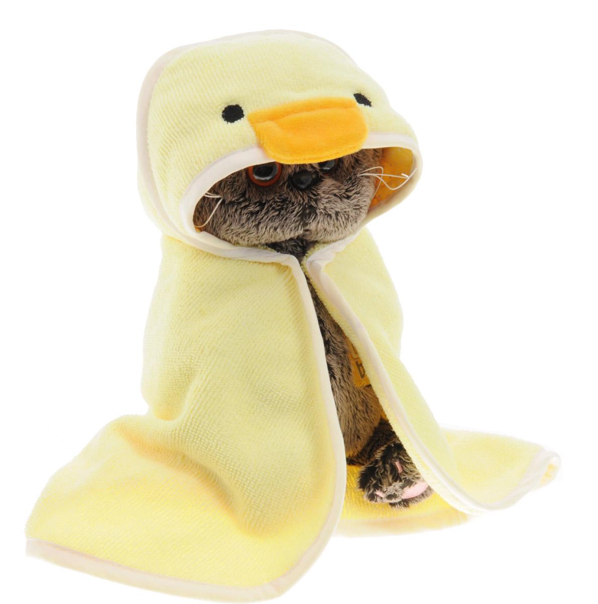 Мягкая игрушка Басик в полотенце с капюшоном 20 смBB-011Банное полотенце в виде уточки сшито из бледно-жёлтой махровой ткани и отделано белым х/б кантом.