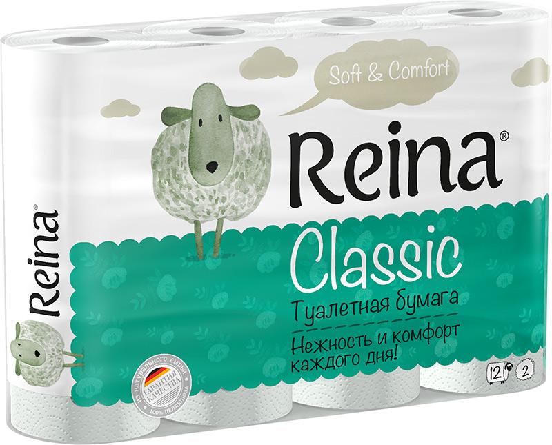 Бумага туалетная Reina Classic, двухслойная, 12 рулонов107Для личной гигиены