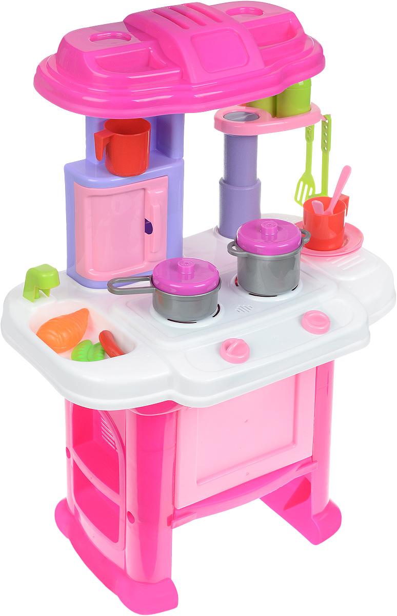 SFL Игровой набор Кухня 16 предметов16641CИгровой набор Кухня привлечет внимание вашей малышки и не позволит ей скучать. Набор представляет собой очаровательную кухонную стойку с газовой плитой и регуляторами, духовкой и множеством разных полочек. Сбоку от плиты оборудована небольшая игрушечная раковина с краном. Духовка открывается, а рычаги плиты можно крутить. При включении плиты появляются звуковые и световые эффекты. В комплект со стойкой входят две кружки с ложками, две тарелочки, две солонки, лопатка, половник, кастрюлька с крышкой и сковорода с крышкой. В наборе имеются коробочка сока, коробочка каши, пластиковая еда. С таким набором можно не только приготовить вкусный обед для кукол, но и красиво сервировать стол для них! С такой кухней ваша малышка сможет устроить для своих игрушек удивительный обед. Порадуйте ее таким замечательным подарком! Для работы требуются 2 батарейки типа АА (не входят в комплект).