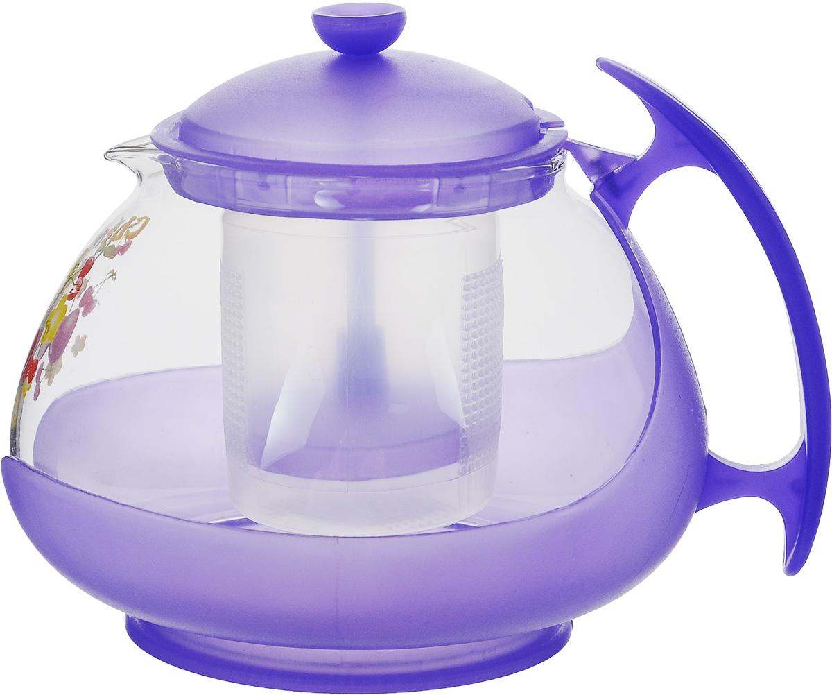Чайник заварочный Mayer & Boch, с фильтром, цвет: прозрачный, фиолетовый, 700 мл. 20222022_прозрачный, фиолетовыйЗаварочный чайник Mayer & Boch изготовлен из жаропрочного стекла и полипропилена. Изделие оснащено сетчатым фильтром из пищевого полипропилена (пластика), который задерживает чаинки и предотвращает их попадание в чашку, а прозрачные стенки дадут возможность наблюдать за насыщением напитка. Чай в таком чайнике дольше остается горячим, а полезные и ароматические вещества полностью сохраняются в напитке. Диаметр чайника (по верхнему краю): 8 см. Высота чайника (без учета крышки): 9,5 см. Высота фильтра: 6,5 см.