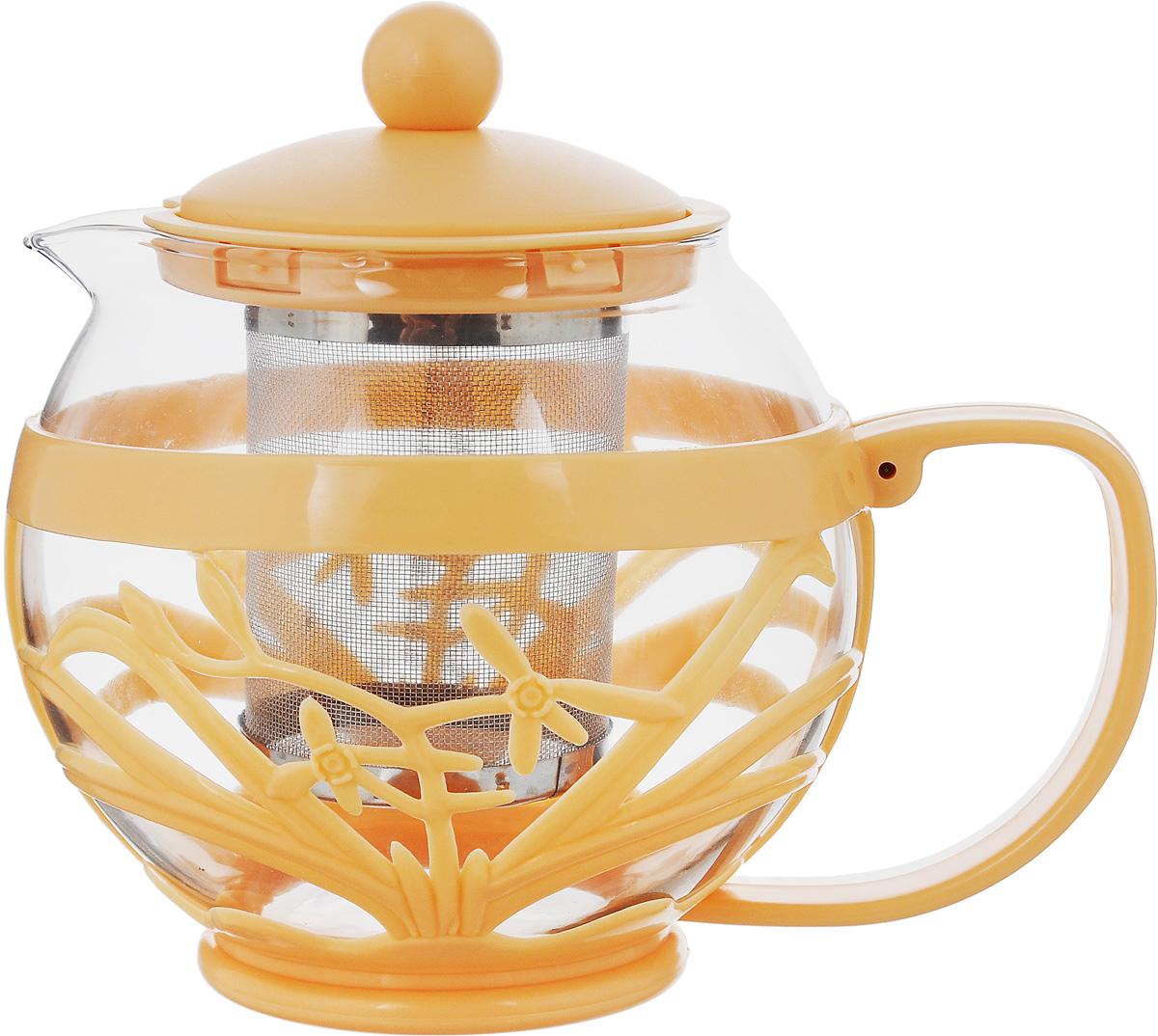 Чайник заварочный Menu Мелисса, с фильтром, цвет: прозрачный, оранжевый, 750 млMLS-75_оранжевыйЧайник Menu Мелисса изготовлен из прочного стекла и пластика. Он прекрасно подойдет для заваривания чая и травяных напитков. Классический стиль и оптимальный объем делают его удобным и оригинальным аксессуаром. Изделие имеет удлиненный металлический фильтр, который обеспечивает высокое качество фильтрации напитка и позволяет заварить чай даже при небольшом уровне воды. Ручка чайника не нагревается и обеспечивает безопасность использования. Нельзя мыть в посудомоечной машине. Диаметр чайника (по верхнему краю): 8 см. Высота чайника (без учета крышки): 11 см. Размер фильтра: 6 х 6 х 7,2 см.