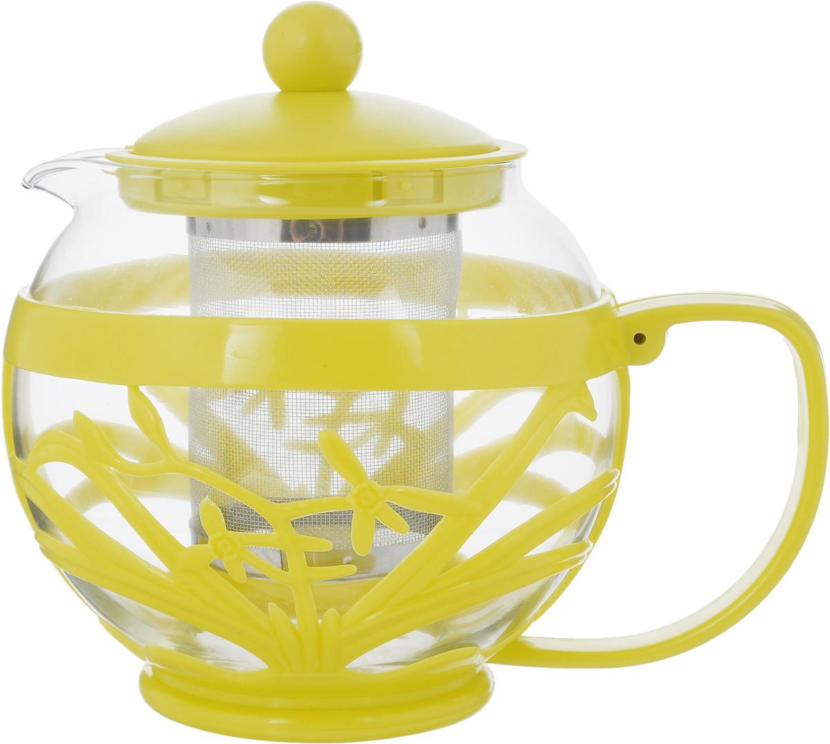 Чайник заварочный Menu Мелисса, с фильтром, цвет: прозрачный, желтый, 750 млMLS-75_прозрачный, желтыйЧайник Menu Мелисса изготовлен из прочного стекла и пластика. Он прекрасно подойдет для заваривания чая и травяных напитков. Классический стиль и оптимальный объем делают его удобным и оригинальным аксессуаром. Изделие имеет удлиненный металлический фильтр, который обеспечивает высокое качество фильтрации напитка и позволяет заварить чай даже при небольшом уровне воды. Ручка чайника не нагревается и обеспечивает безопасность использования. Нельзя мыть в посудомоечной машине. Диаметр чайника (по верхнему краю): 8 см. Высота чайника (без учета крышки): 11 см. Размер фильтра: 6 х 6 х 7,2 см.