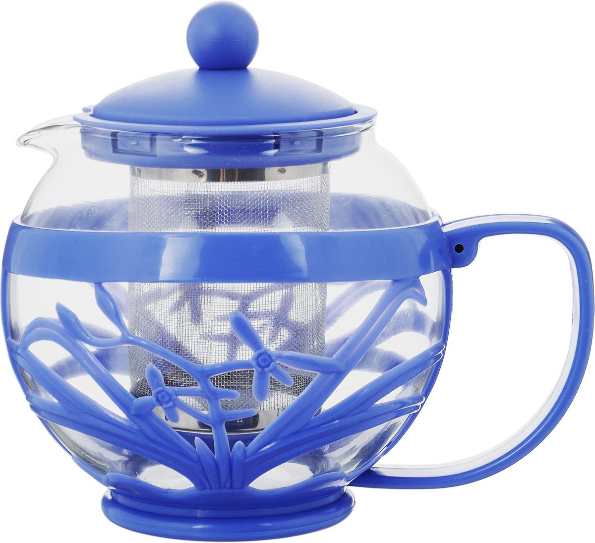 Чайник заварочный Menu Мелисса, с фильтром, цвет: прозрачный, синий, 750 млMLS-75_синийЧайник Menu Мелисса изготовлен из прочного стекла и пластика. Он прекрасно подойдет для заваривания чая и травяных напитков. Классический стиль и оптимальный объем делают его удобным и оригинальным аксессуаром. Изделие имеет удлиненный металлический фильтр, который обеспечивает высокое качество фильтрации напитка и позволяет заварить чай даже при небольшом уровне воды. Ручка чайника не нагревается и обеспечивает безопасность использования. Нельзя мыть в посудомоечной машине. Диаметр чайника (по верхнему краю): 8 см. Высота чайника (без учета крышки): 11 см. Размер фильтра: 6 х 6 х 7,2 см.