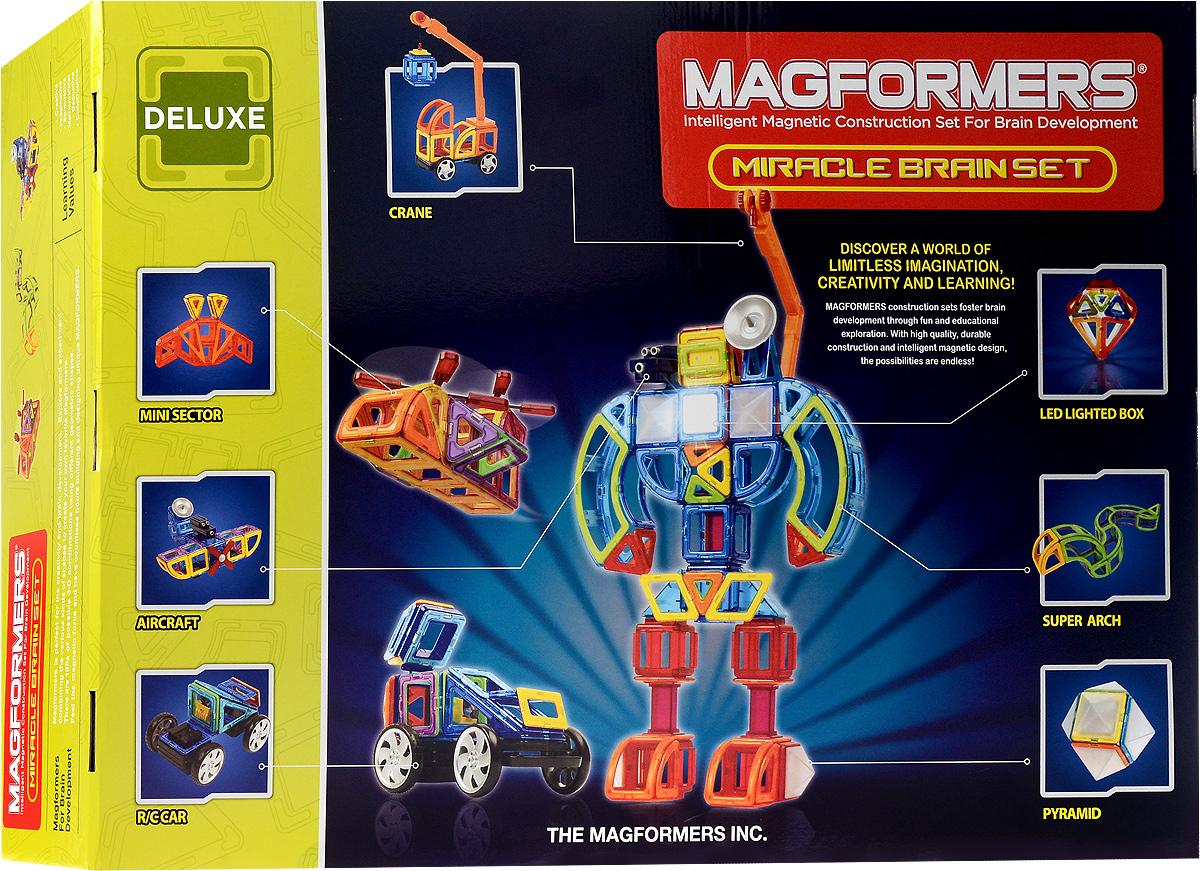 Magformers Магнитный конструктор Miracle Brain Set63093/710005Одно из значений слова Miracle - это нечто удивительное. И это действительно так, ведь в этом наборе появились сразу несколько новых дополнений, которые изменят ваше традиционное представление о магнитном конструкторе и выведут игру на новый уровень! В магнитном конструкторе Magformers Miracle Brain Set появилась светодиодная подсветка. В темноте любые постройки будут наполняться магическим светом, что существенно расширит игровые возможности конструктора. А кто из детей не любит играть с чем-то светящимся? Платформа с колесами на пульте дистанционного управления. Модели звездолетов, мифологических животных, машин будущего обретут жизнь в движении. Любой малыш будет просто счастлив, увидев свой шедевр динамичным! В конструктор вошли новые геометрические элементы суперарка, суперсектор, прямоугольный треугольник, миниарка, минисектор и многие другие интересные аксессуары, наличие которых приведет вас к абсолютно новым идеям. Появление этого конструктора...