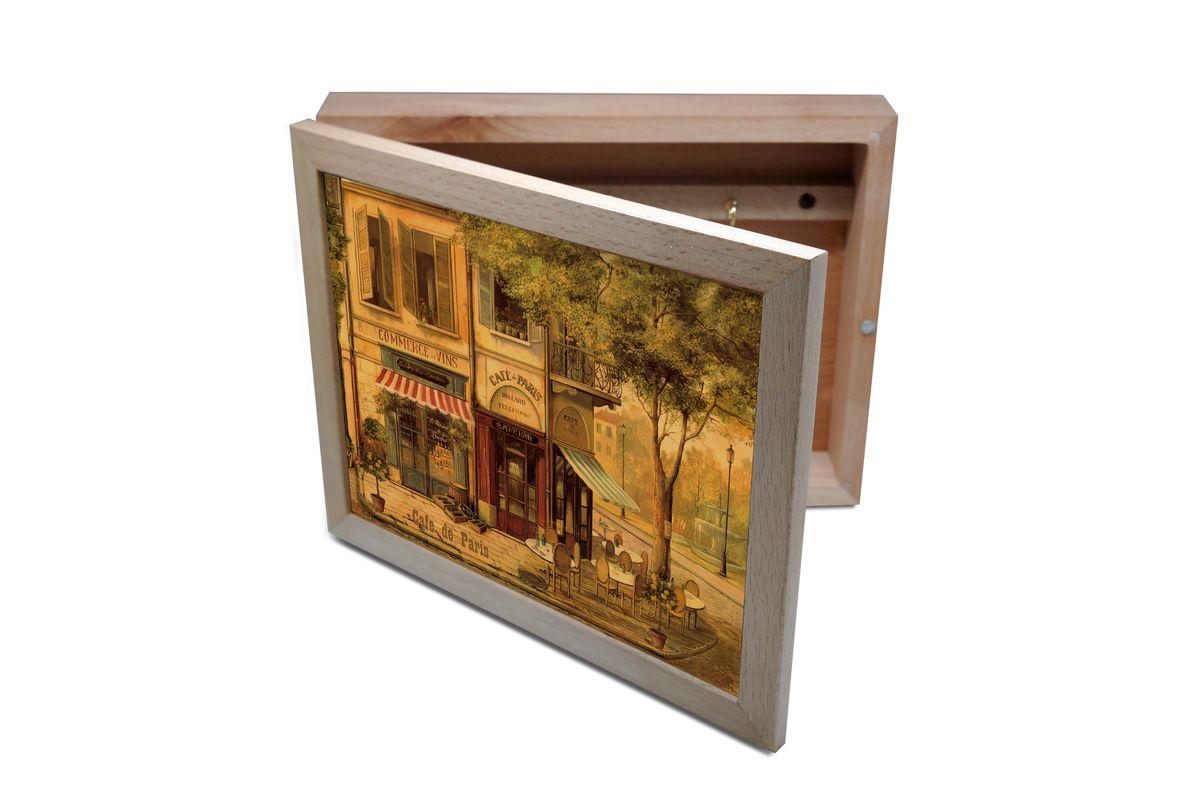 Ключница GiftnHome Парижское кафе, 20 х 25 смKbox-CafeВпустив в свой Дом однажды, вы почувствуете, что этот аксессуар навсегда заполнит Ваше сердце благодарностью! Теперь Вы и вся Ваша семья - всегда будете знать, где находится нужный ключ! Вам больше не нужно метаться по квартире в поисках потерянного золотого ключика или целой связки. А когда семья большая - это буквально спасательный волшебный ларец, способный элементарно организовать в одном месте самые важные ключи всех жильцов Вашего семейства. Ключница, оформленная современными модными принтами от Креативной студии АнтониоК - помимо практичности и удобства внесет оригинальный стиль и послужит прекрасным интерьерным решением в прихожей Вашего дома, дачи, офиса или студии. Товары бренда GiftnHome, серии Эко-Лайф выполнены из благородных пород дерева: бука и дуба. Они несут в дом тепло, уют и неповторимый индивидуальный стиль. Эти изделия не боятся повседневной эксплуатации и будут Вам служить долго и преданно.