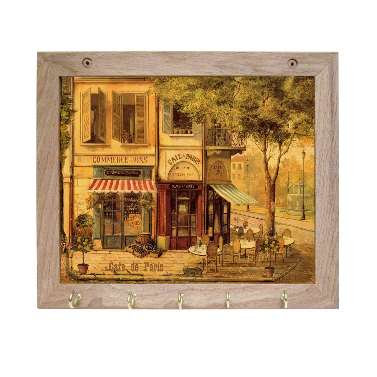 Вешалка GiftnHome Парижское кафе, с 5 крючками, 20 х 25 смTH-CafeArt-Casual - что значит буквально: повседневное искусство - это Новый тренд, новый стиль предложения обычных домашних аксессуаров в качестве элементов, задающих стиль и шарм окружающего пространства.Уникальное сочетание привычной функциональности и декоративной, интерьерной функции - это актуальная, современная тенденция от прогрессивных производителей товаров для дома. Вешалка для полотенец - это всем знакомый, понятный и нужный предмет в каждом доме.Проект GiftnHome предлагает серию изделий из натурального дерева (Eco-Life), в комбинации с модными цветными принтами на корпусе от Креативной студии AntonioK.Это изделия больше, чем просто крючки для полотенец, они несут интерьерное решение, зададут настроение и стиль на вашей кухне, столовой или дачной веранде. В серии Эко-Лайф, от GiftnHome - можно, так же приобрести ключницы, подносы и столики в постель из благородных пород дерева (бук, дуб), с актуальными дизайнами на поверхности древесины.