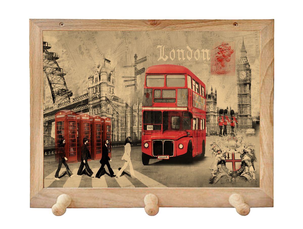 Вешалка GiftnHome Лондон, с 3 крючками, 38 х 34 смTH-London(b)Art-Casual - что значит буквально: повседневное искусство - это Новый тренд, новый стиль предложения обычных домашних аксессуаров в качестве элементов, задающих стиль и шарм окружающего пространства.Уникальное сочетание привычной функциональности и декоративной, интерьерной функции - это актуальная, современная тенденция от прогрессивных производителей товаров для дома. Вешалка для полотенец - это всем знакомый, понятный и нужный предмет в каждом доме.Проект GiftnHome предлагает серию изделий из натурального дерева (Eco-Life), в комбинации с модными цветными принтами на корпусе от Креативной студии AntonioK.Это изделия больше, чем просто крючки для полотенец, они несут интерьерное решение, зададут настроение и стиль на вашей кухне, столовой или дачной веранде. В серии Эко-Лайф, от GiftnHome - можно, так же приобрести ключницы, подносы и столики в постель из благородных пород дерева (бук, дуб), с актуальными дизайнами на поверхности древесины.