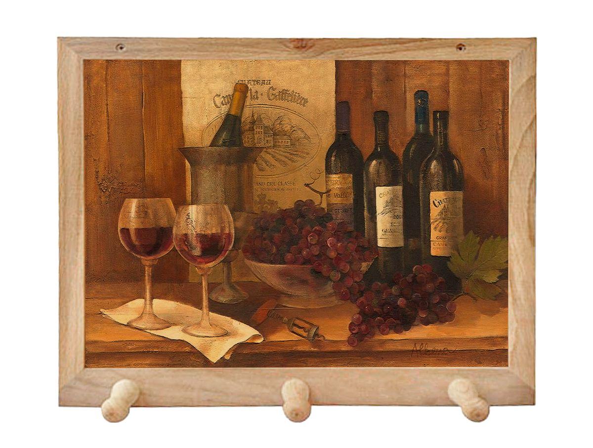 Вешалка GiftnHome Винтажные вина, с 3 крючками, 38 х 34 смTH-VinWines(b)Art-Casual - что значит буквально: повседневное искусство - это Новый тренд, новый стиль предложения обычных домашних аксессуаров в качестве элементов, задающих стиль и шарм окружающего пространства.Уникальное сочетание привычной функциональности и декоративной, интерьерной функции - это актуальная, современная тенденция от прогрессивных производителей товаров для дома. Вешалка для полотенец - это всем знакомый, понятный и нужный предмет в каждом доме.Проект GiftnHome предлагает серию изделий из натурального дерева (Eco-Life), в комбинации с модными цветными принтами на корпусе от Креативной студии AntonioK.Это изделия больше, чем просто крючки для полотенец, они несут интерьерное решение, зададут настроение и стиль на вашей кухне, столовой или дачной веранде. В серии Эко-Лайф, от GiftnHome - можно, так же приобрести ключницы, подносы и столики в постель из благородных пород дерева (бук, дуб), с актуальными дизайнами на поверхности древесины.