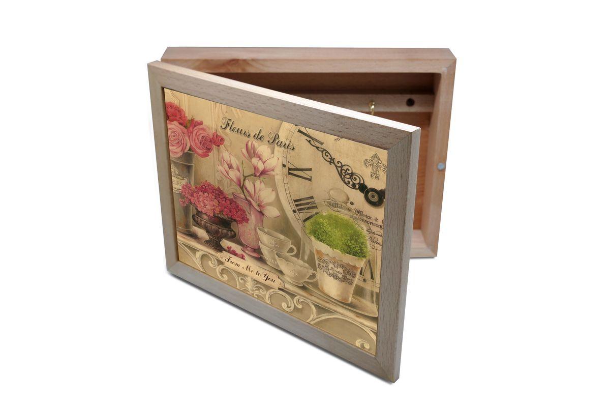 Ключница GiftnHome Парижские цветы, 20 х 25 смKbox-FleursВпустив в свой Дом однажды, вы почувствуете, что этот аксессуар навсегда заполнит Ваше сердце благодарностью! Теперь Вы и вся Ваша семья - всегда будете знать, где находится нужный ключ! Вам больше не нужно метаться по квартире в поисках потерянного золотого ключика или целой связки. А когда семья большая - это буквально спасательный волшебный ларец, способный элементарно организовать в одном месте самые важные ключи всех жильцов Вашего семейства. Ключница, оформленная современными модными принтами от Креативной студии АнтониоК - помимо практичности и удобства внесет оригинальный стиль и послужит прекрасным интерьерным решением в прихожей Вашего дома, дачи, офиса или студии. Товары бренда GiftnHome, серии Эко-Лайф выполнены из благородных пород дерева: бука и дуба. Они несут в дом тепло, уют и неповторимый индивидуальный стиль. Эти изделия не боятся повседневной эксплуатации и будут Вам служить долго и преданно.