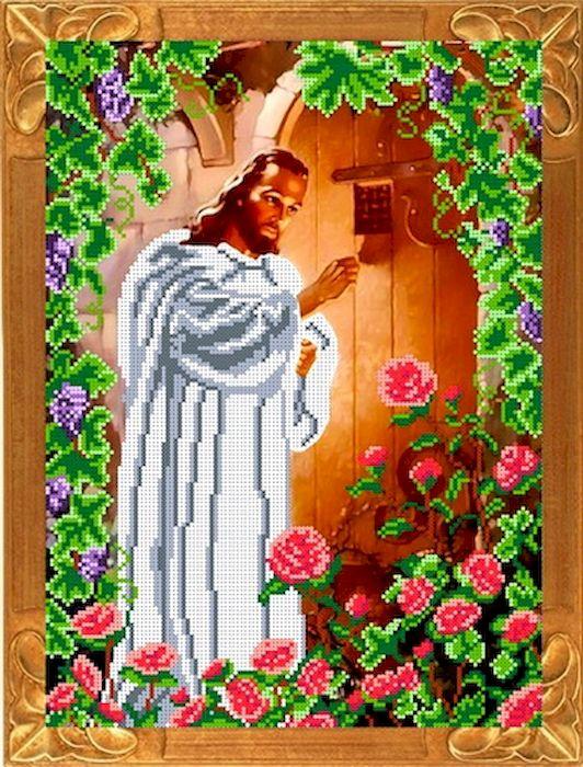 Ткань схема для вышивки бисером или крестом Каролинка Иисус стучащий в дверь, 37х27 см. кби 3058кби 3058Рисунок схема для вышивки бисером и крестом на габардине,дублированном флизилином.На основе для вышивки предлагается вышивать тремя техниками /бисером,крестом,смешанной/.Дана раскладка в граммах и номерах бисера Чехия,метрах и номерах мулине Гамма.