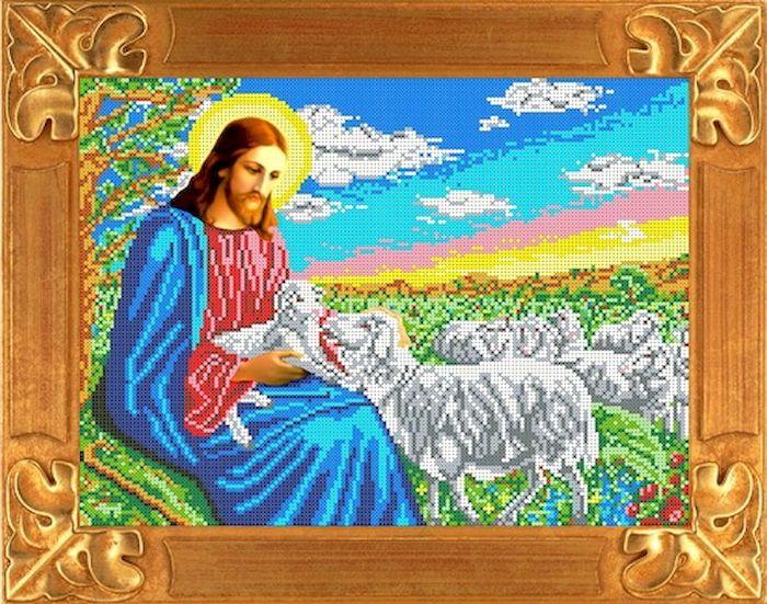 Ткань схема для вышивки бисером или крестом Каролинка Иисус Пастырь, 35х26 см. кби 3061кби 3061Рисунок схема для вышивки бисером и крестом на габардине,дублированном флизилином.На основе для вышивки предлагается вышивать тремя техниками /бисером,крестом,смешанной/.Дана раскладка в граммах и номерах бисера Чехия,метрах и номерах мулине Гамма.
