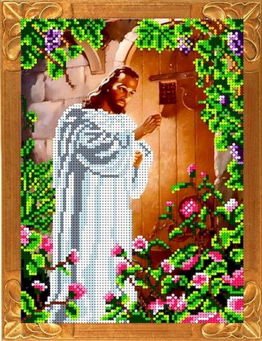 Ткань схема для вышивки бисером или крестом Каролинка Иисус,стучащий в дверь, 18х24,5 см. кби 4058кби 4058Рисунок схема для вышивки бисером и крестом на габардине,дублированном флизилином.На основе для вышивки предлагается вышивать тремя техниками /бисером,крестом,смешанной/.Дана раскладка в граммах и номерах бисера Чехия,метрах и номерах мулине Гамма.