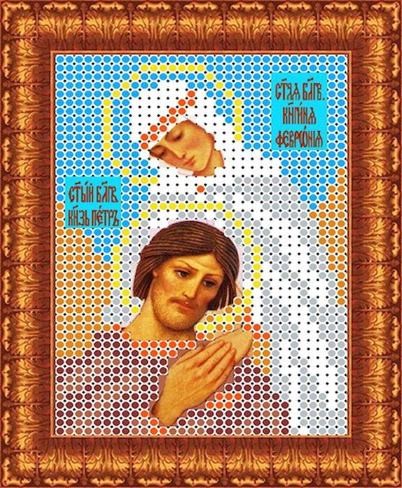 Ткань схема для вышивки бисером или крестом Каролинка Святые Петр и Февронья, 7х95 см. кби 6005кби 6005Рисунок схема для вышивки бисером и крестом на габардине,дублированном флизилином.На основе для вышивки предлагается вышивать тремя техниками /бисером,крестом,смешанной/.Дана раскладка в граммах и номерах бисера Чехия,метрах и номерах мулине Гамма.