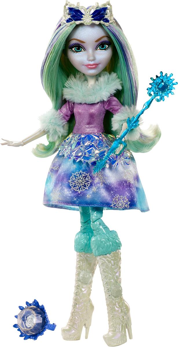 Ever After High Кукла Кристал ВинтерDKR67Кристал Винтер - героиня новая, мало кому знакомая. Однако, эта девушка уже успела покорить сердца многих поклонников. Кукла имеет светлую кожу, волосы в холодных оттенках, такой же и макияж. Такой образ у очаровательной Кристал не случаен - героиня является дочерью Снежной Королевы и Снежного Короля. Но, несмотря на происхождение, это не мешает Кристал Винтер быть смелой, иногда дерзкой, иногда очень громкой и непослушной, но всегда верной и милой с друзьями. Заколдованная зима будет не страшна красотке в таком наряде, тем более что настрой у всех девушек из этой серии - только боевой! В комплект к кукле Ever After High Кристал Винтер входят кольцо для девочек, карточка с историей и волшебная палочка.