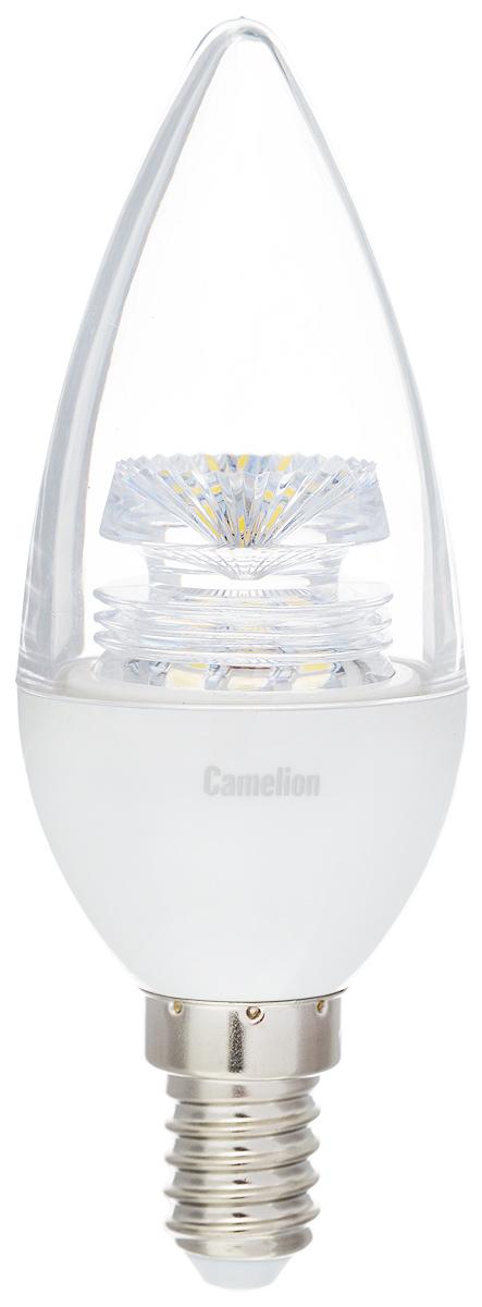 Лампа светодиодная Camelion, холодный свет, цоколь Е14, 5,5W11757Светодиодная лампа Camelion - это инновационное решение, разработанное на основе новейших светодиодных технологий (LED) для эффективной замены любых видов галогенных или обыкновенных ламп накаливания во всех типах осветительных приборов. Она хорошо подойдет для освещения квартир, гостиниц и ресторанов. Лампа не содержит ртути и других вредных веществ, экологически безопасна и не требует утилизации, не выделяет при работе ультрафиолетовое и инфракрасное излучение. Напряжение: 220-240 В / 50 Гц. Индекс цветопередачи (Ra): 82+. Угол светового пучка: 220°. Использовать при температуре: от -30° до +40°.