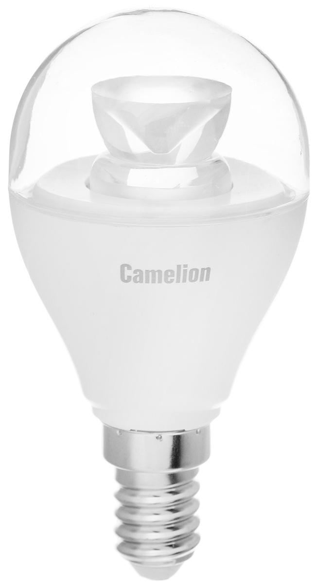 Лампа светодиодная Camelion, теплый свет, цоколь Е14, 6,5W11930Энергосберегающая лампа Camelion - это инновационное решение, разработанное на основе новейших светодиодных технологий (LED) для эффективной замены любых видов галогенных или обыкновенных ламп накаливания во всех типах осветительных приборов. Она хорошо подойдет для создания рабочей атмосферы в производственных и общественных зданиях, спортивных и торговых залах, в офисах и учреждениях. Лампа не содержит ртути и других вредных веществ, экологически безопасна и не требует утилизации, не выделяет при работе ультрафиолетовое и инфракрасное излучение. Напряжение: 220-240 В / 50 Гц. Индекс цветопередачи (Ra): 77+. Угол светового пучка: 240°. Использовать при температуре: от -30° до +40°.