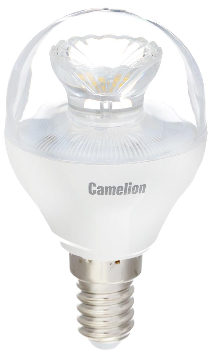 Лампа светодиодная Camelion, холодный свет, цоколь Е14, 6,5W11932Светодиодная лампа Camelion - это инновационное решение, разработанное на основе новейших светодиодных технологий (LED) для эффективной замены любых видов галогенных или обыкновенных ламп накаливания во всех типах осветительных приборов. Она хорошо подойдет для создания рабочей атмосферы в производственных и общественных зданиях, спортивных и торговых залах, в офисах и учреждениях. Лампа не содержит ртути и других вредных веществ, экологически безопасна и не требует утилизации, не выделяет при работе ультрафиолетовое и инфракрасное излучение. Напряжение: 220-240 В / 50 Гц. Индекс цветопередачи (Ra): 82+. Угол светового пучка: 240°. Использовать при температуре: от -30° до +40°.