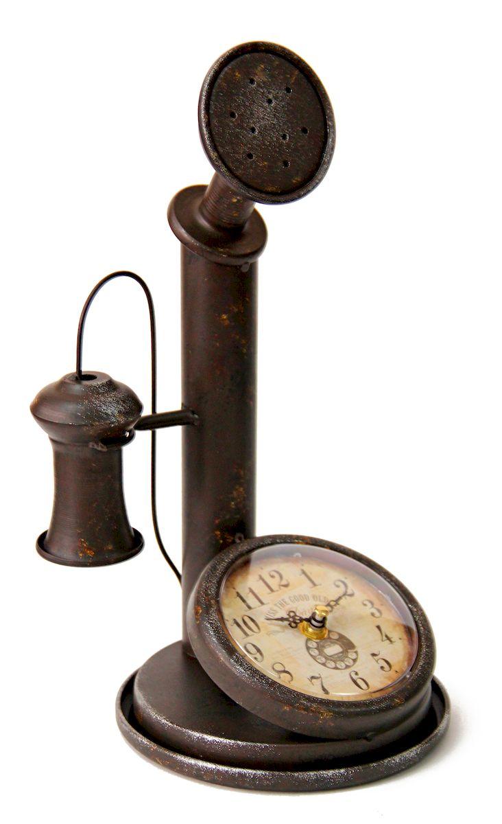 Часы настольные Magic Home Ретро Телефон, кварцевые, цвет: черный41491корпус из черного металла, циферблат из черного металла с покрытием из принтованной бумаги; питание от батарейки типа AA, в комплект не входит