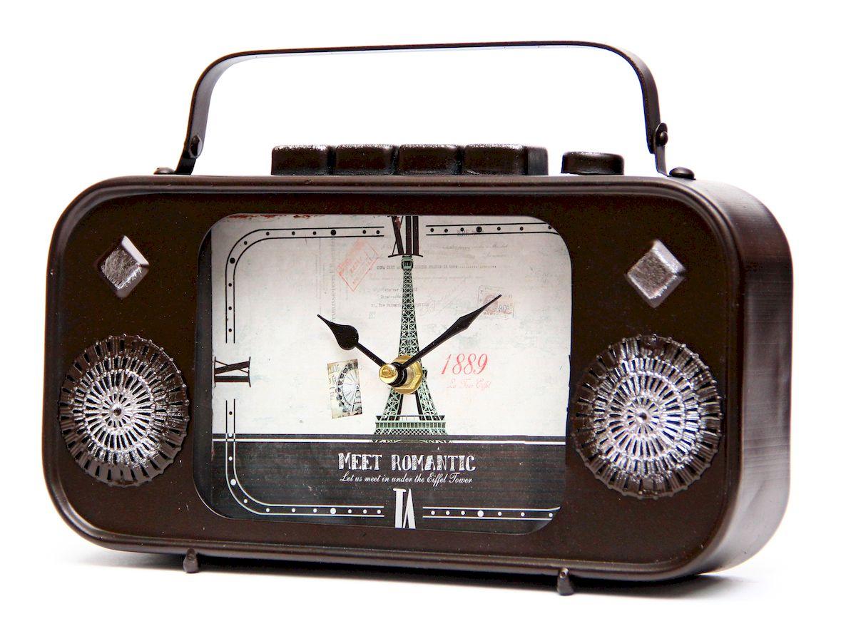 Часы настольные Magic Home Радио, кварцевые, цвет: черный41498Настольные кварцевые часы Magic Home Радио изготовлены из металла черного цвета, циферблат из черного металла с покрытием из принтованной бумаги. Настольные часы Magic Home Радио прекрасно оформят интерьер дома или рабочий стол в офисе. Часы работают от одной батарейки типа АА мощностью 1,5V (не входит в комплект).