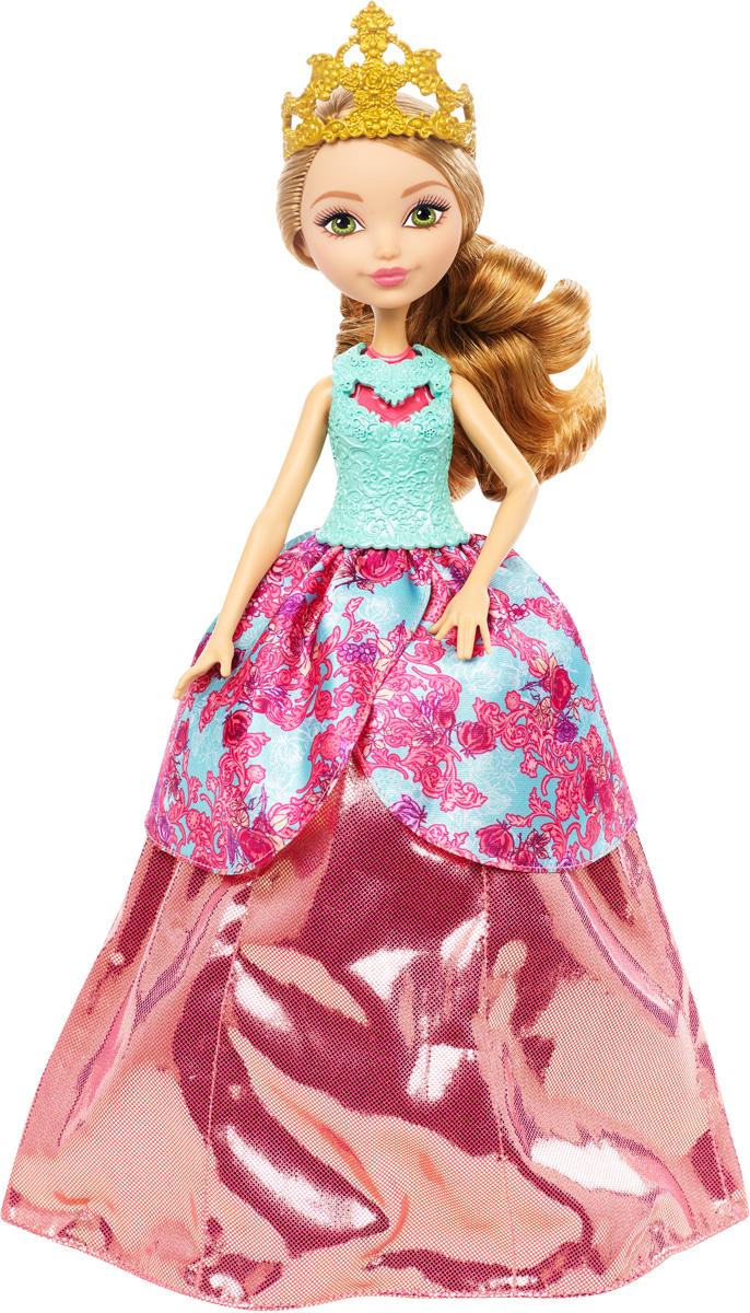 Ever After High Кукла Эшлин Элла в трансформирующемся платьеDNB90Очаровательная куколка Ever After High Эшлин Элла обязательно привлечет внимание вашей маленькой любительницы сказок и волшебства. Зеленоглазая красавица сказочная принцесса Эшлин Элла - дочка знаменитой Золушки. Эшлин Элла превращается из девочки-нищенки в принцессу. Нажмите кнопку на ее спине, и мини-юбка станет бальным платьем, в котором можно пойти на королевский прием. Поверните ручку, и она снова может идти в школу. Механизм очень прост, обе трансформации можно повторять снова и снова. В набор входит второй лиф для принцессы и корона, ведь так играть еще веселее. Длинные золотистые волосы куколки мягкие и послушные, их приятно расчесывать и создавать различные прически. Не упустите возможность переписать историю вместе с учениками школы Ever After - детьми персонажей известных сказок, которым предстоит решить, следовать ли судьбе своих родителей и прожить положенный сюжет, или изменить то, что им предначертано и самим выбирать свою судьбу.