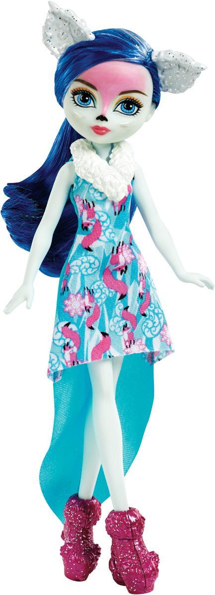 Ever After High Кукла Снежная фея ФоксаннаDNR63_DNR64Кукла Ever After High Снежная фея Фоксанна станет отличным подарком для любой девочки. Снежная фея Фоксанна защищает лесные создания, она - хранительница лис. Кукла имеет длинные синие волосы с блестящими прядями. Наряд куклы состоит из яркого платья, украшенного изображениями розовых лисичек и розовых сапожек. Образ дополняют белые ушки, ожерелье и необычный макияж. Игрушка изготовлена из безопасных нетоксичных материалов и полностью соответствует всем требованиям безопасности.