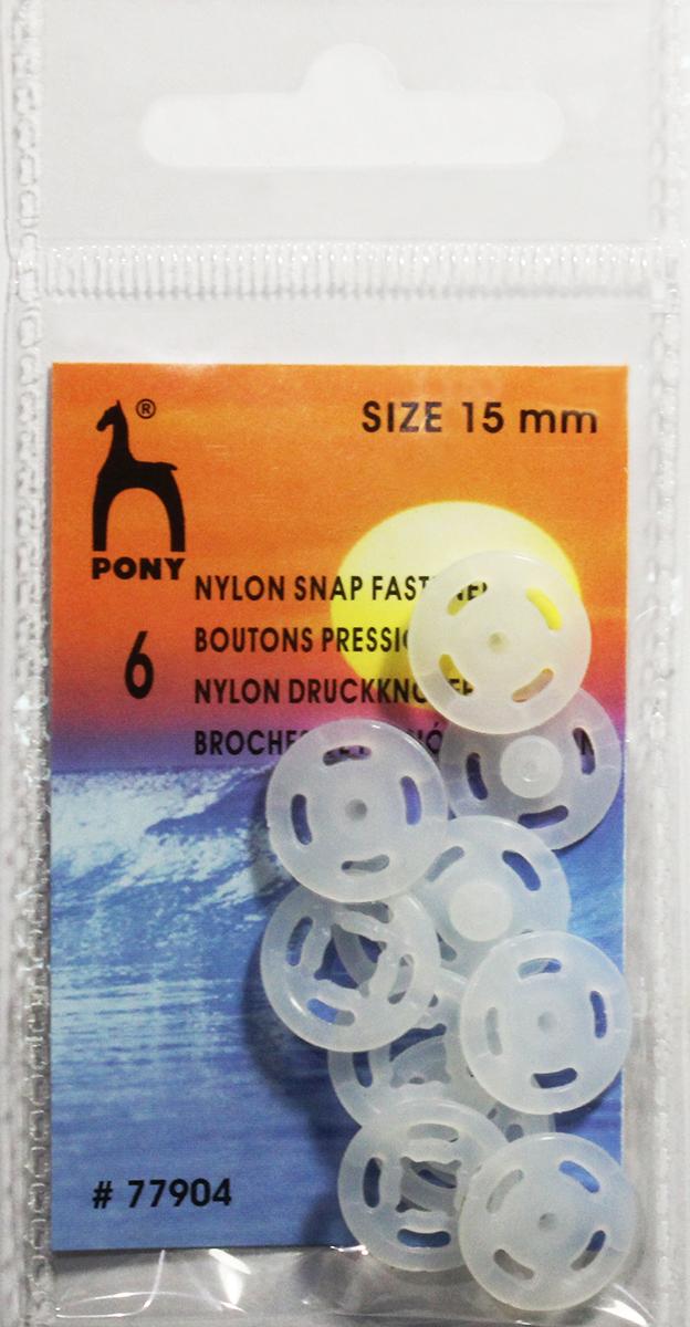 Кнопки одежные Pony, 15 мм, цвет: прозрачный, 6 шт. 7790477904Кнопки одежные. Нейлон. Один размер. Диаметр 15 мм. Прозрачные. 6 шт. Картон.