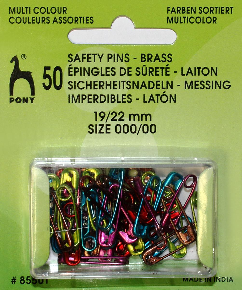 Булавки английские Pony, 19 мм/22 мм, цветные, 50 шт. 8550185501Булавки английские. Латунь. Цветные. 50шт. Длина 19 мм/22мм. Блистер.