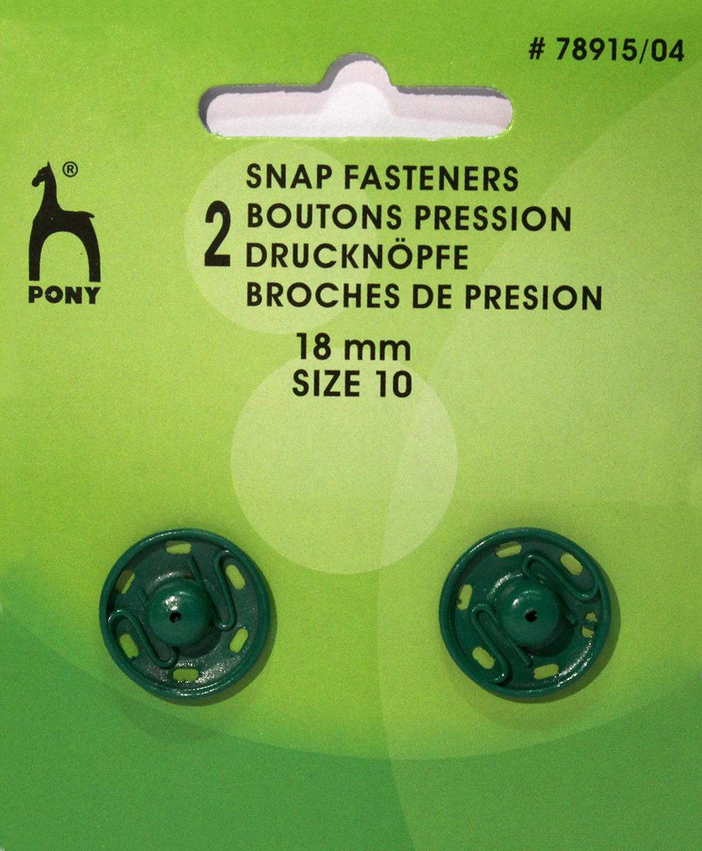 Кнопки одежные Pony, 18 мм, цвет: зеленый, 2 шт. 78915/0478915/04Кнопки одежные. Латунь. Один размер. Диаметр 18 мм. Зеленые. 2 шт. Картон.